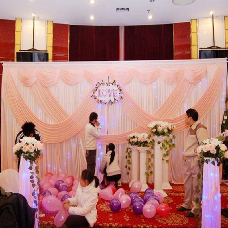Pink wedding backdrop party stage wedding decoration for Background curtain decoration