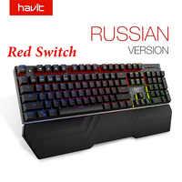 HAVIT Mechanical Keyboard 87/104 keys Blue or Red Switch Gaming Keyboards for Tablet Desktop Russian/US sticker