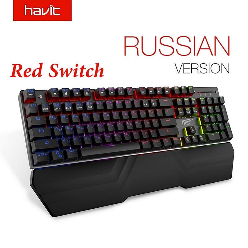 HAVIT Teclado mecánico 104 teclas interruptor Azul Rojo con cable teclado para juegos RGB luz Anti-fantasma teclado ruso HV-KB432L
