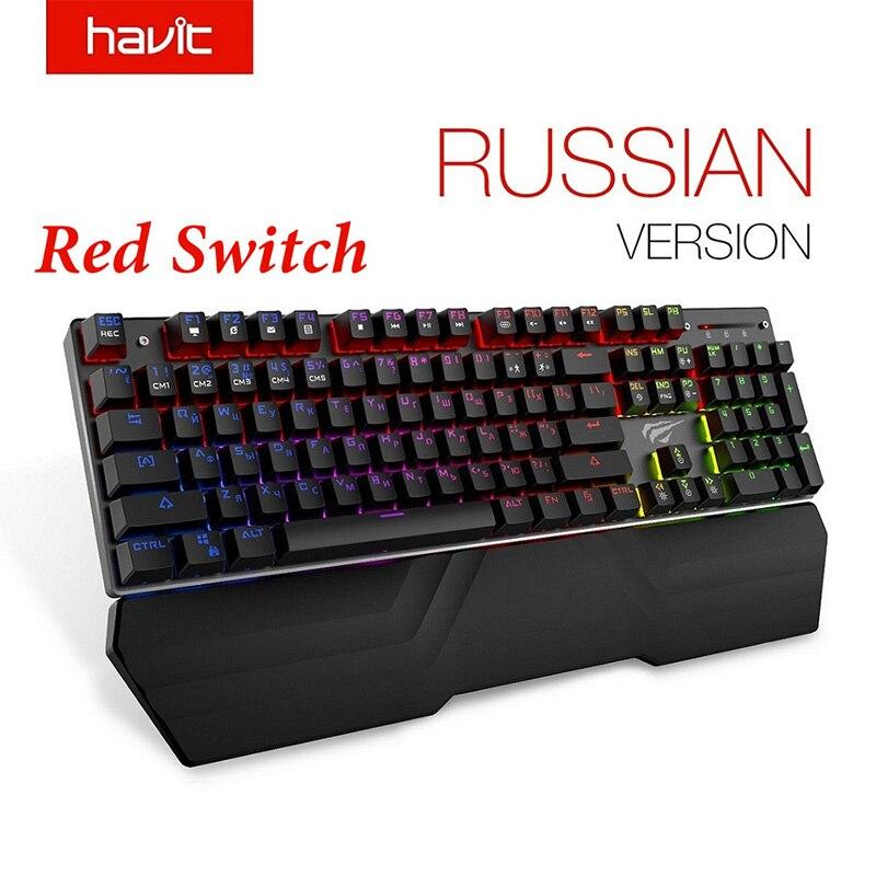 HAVIT clavier mécanique 87/104 touches bleu ou rouge commutateur claviers de jeu pour tablette bureau autocollant russe/US