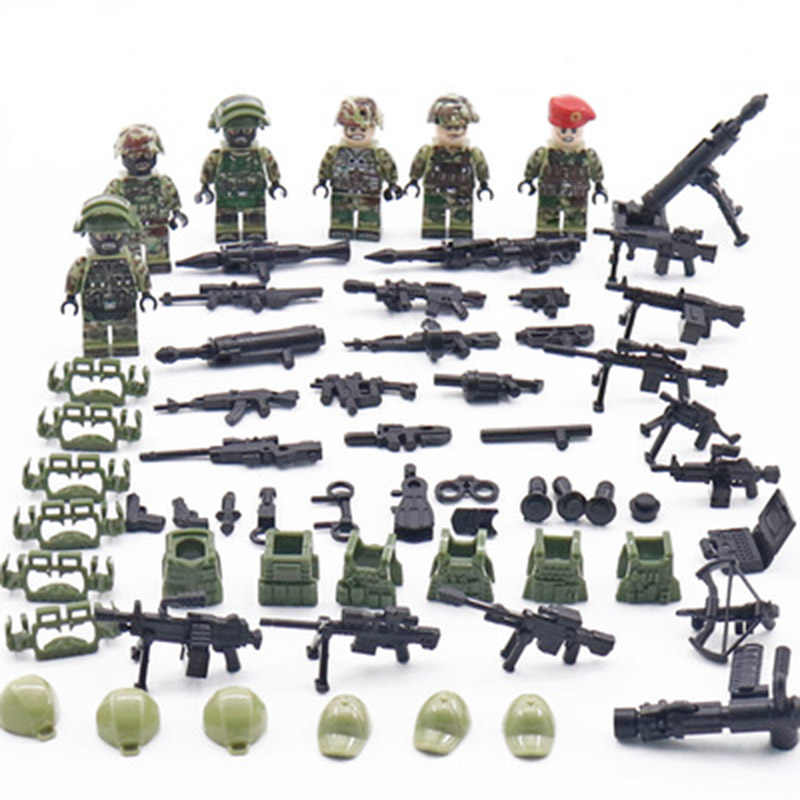 6pcs New Legoing Minifigure Alpha Force MILITARY Camouflage Soldier SWAT US Army War Building Blocks Brick Figure Toys Gift Boys