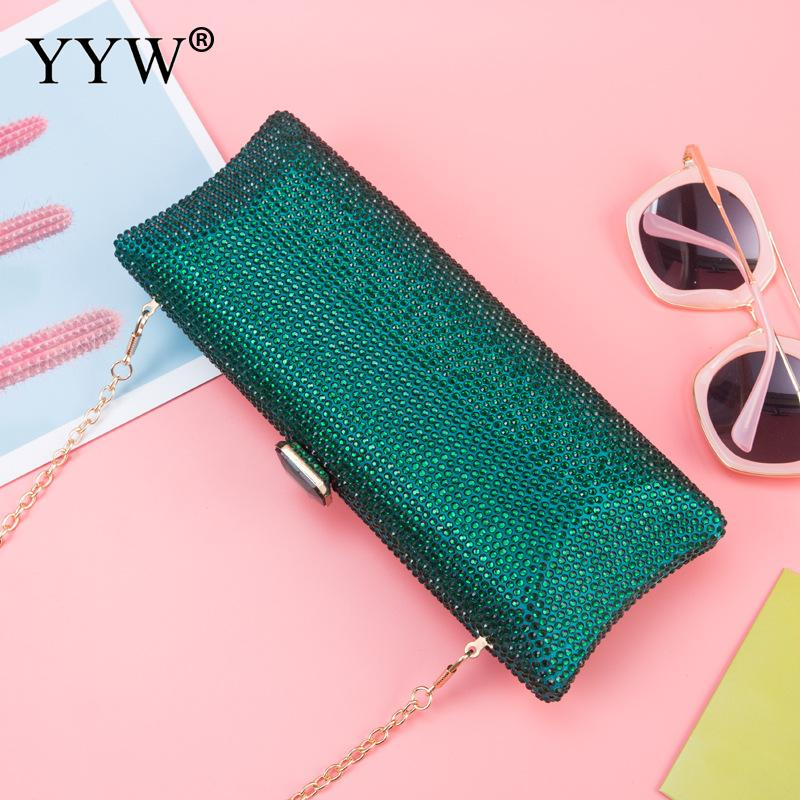 2019 Rhinestone Long Evening Clutch Bags For Women Green Luxury Bag Over Shoulder Purse Party Wedding Crystal Banquet Clutches(China)