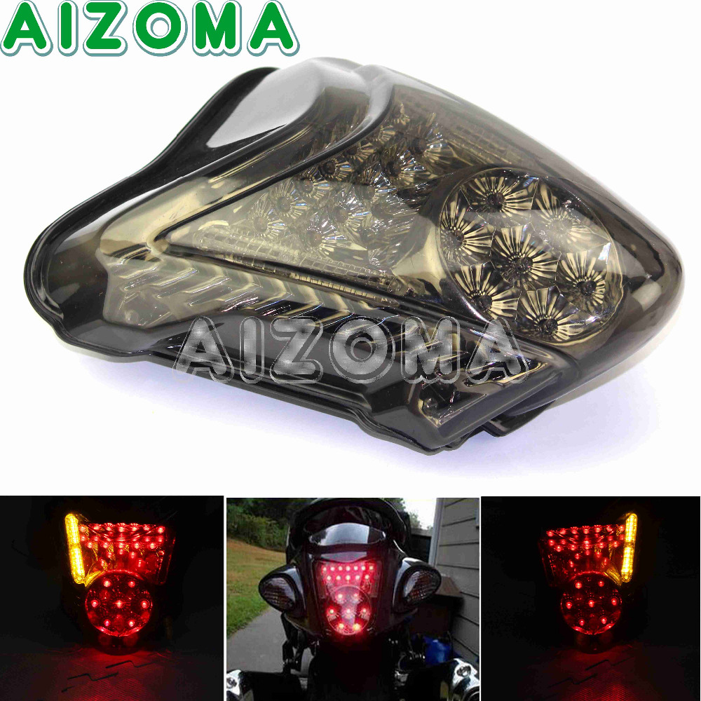 Motorcycle LED Taillight Assembly For Suzuki Hayabusa GSXR1300 2008-2009 Red Brake Stop Tail Light W/ Amber Turn Signal Lamp