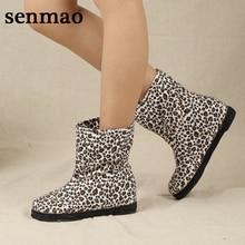 Fashion Women's Casual Shoes 2016 Breathable Women Women Boots Leopard Handmade Canvas Boots Autumn Winter Flats Shoes 36-40