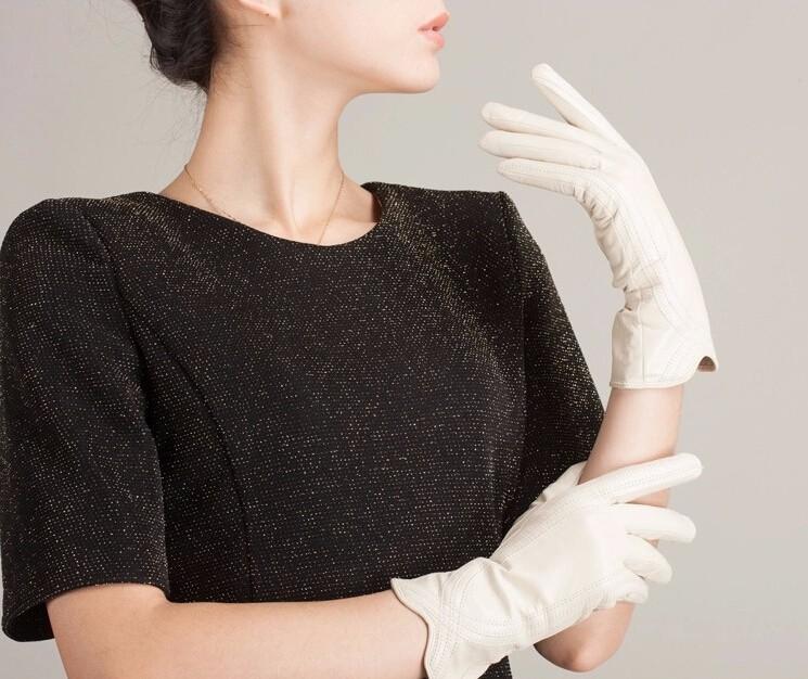 High Quality Women Genuine Sheepskin Winter Women Leather Gloves Lady knitting lined Warm Winter Mittens women gloves 28