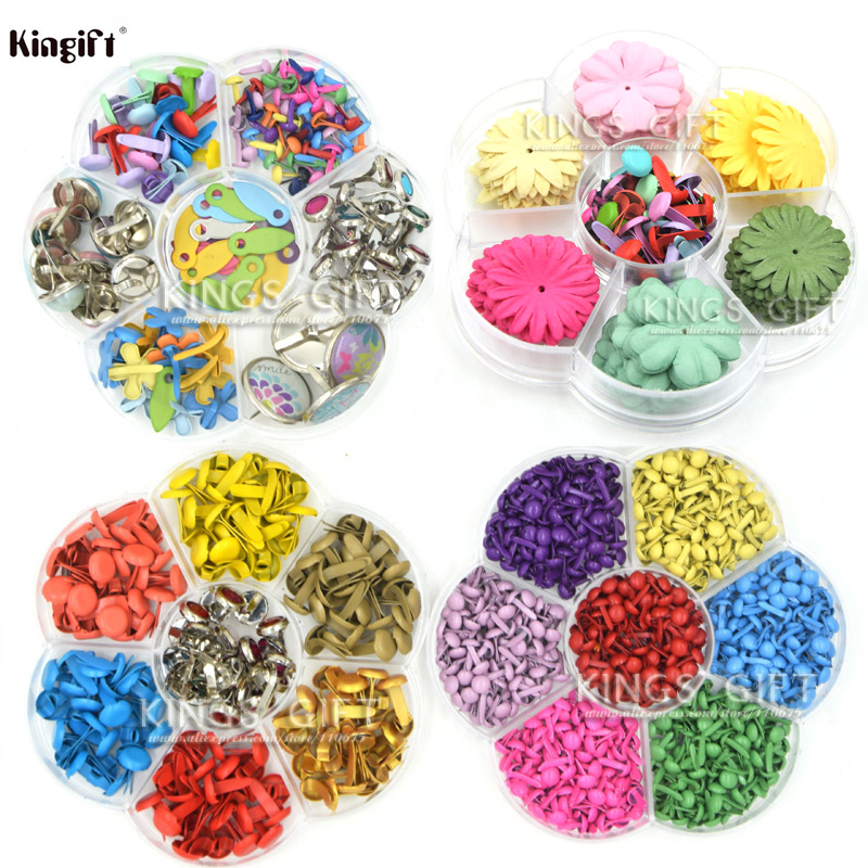 Aneka Warna Mini Logam Brads 4.5mm, 8mm, Bunga Kertas Untuk Scrapbooking, DIY Craft Supplies Scrapbooking Bunga Brads