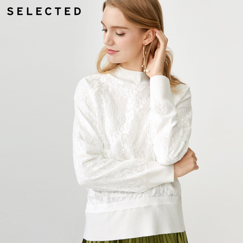 SELECTED new autumn and winter sweater with wool lace stitching S 418424521
