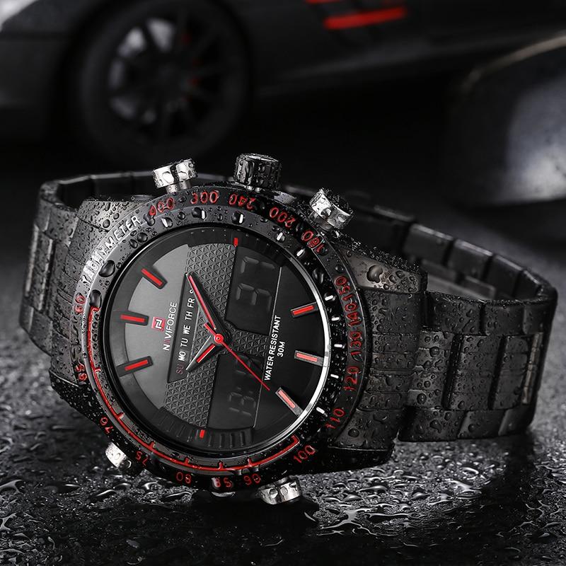 Мужские часы naviforce люксовый бренд стали кварцевые часы цифровые светодиодные часы армии военные спортивные часы мужчины relogio словаре