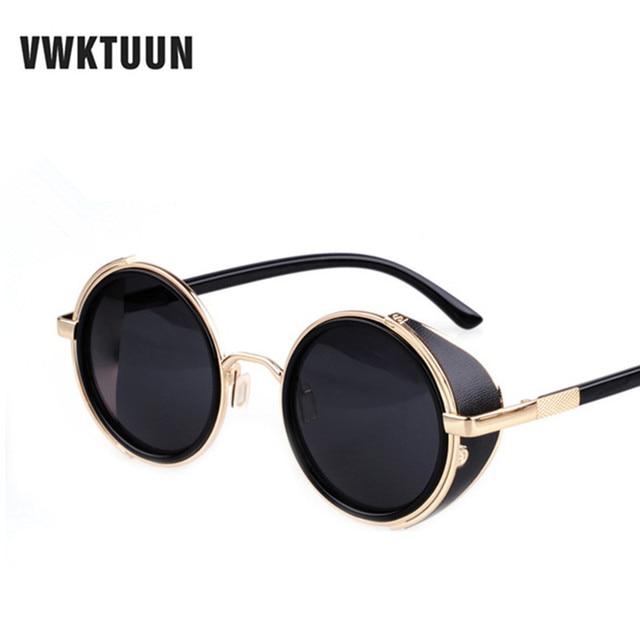 95960ad3c0e VWKTUUN Steampunk Round Sunglasses Men Women Vintage Retro style Mirror Steam  punk Goggle Man Woman s Outdoor