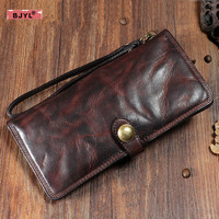 BJYL Original retro buckle genuine leather men long wallet first layer cowhide wrinkle multi card full leather card wallet