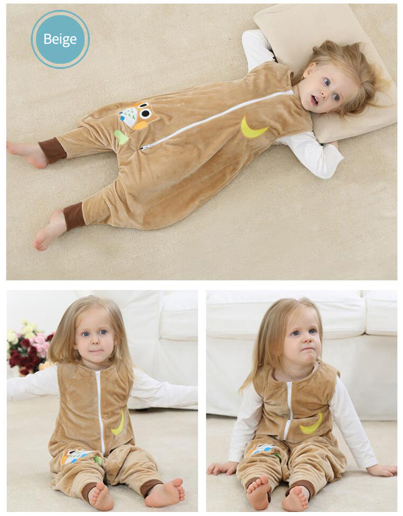 Autumn Winter Sleeping Bag Flannel Cartoon Baby Clothes Girl Christmas Pajamas Baby Jumpsuits Toddler Boys Warm Sleepwear Romper | Happy Baby Mama