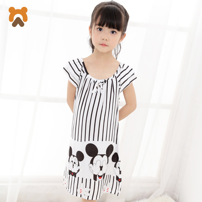 Girls Princess Nightgowns Summer Short Sleeve Striped Cartoon Nightdress  Knitted Pajamas Sleepwear Children Kids Girl Nightgown-in Nightgowns from  Mother ... 2895ae284