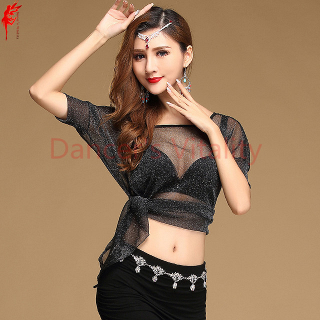 a2132ca9801 Wholesale belly dance top silver mesh belly dance top women belly dance  Practice top girl dance clothes gray/red/black