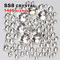 3d nail fashion manicure Decoration Crystal Hot Fix Rhinestones Flatback Iron On Crystals 1440pcs/lot SS8 (2.3-2.5MM)