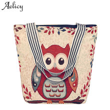 Aelicy 2019 New Design Women's Canvas Cartoon Handbag Large Capacity Animal Prints Casual Tote Owl Crossbody Bags For Women(China)