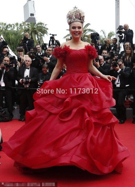 Rojo del vestido de Bola Vestido de Novia Sin Mangas Vestido de La Celebridad Alfombra Roja de Cannes Quinee