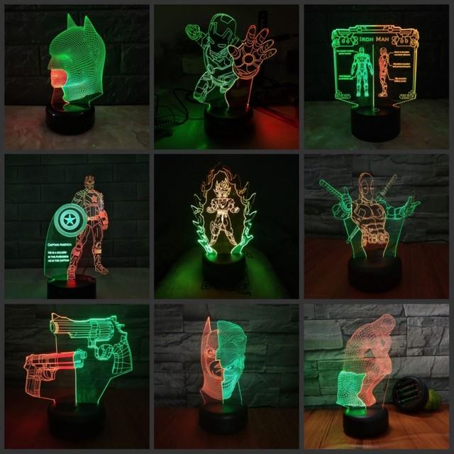 Super herói Homem-Aranha Homem De Ferro Capitão América 3D Luzes LED Night Lights RGB Decoração do Festival Presentes Para Crianças Brinquedo candeeiro de mesa