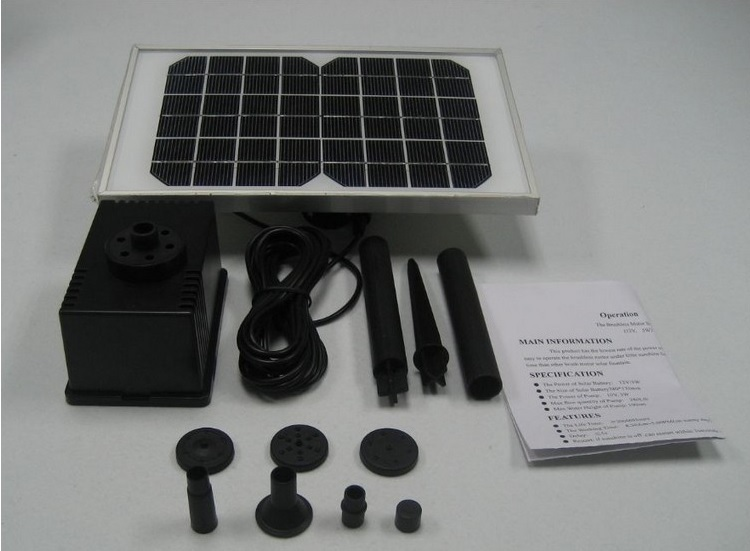 12V 5W Solar Water Pump Power Panel Kit Fountain Pool Garden Pond Submersible Watering
