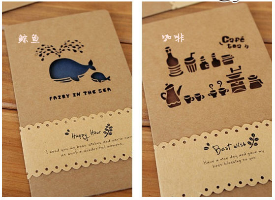 6pcs Lot Creative Hollow Out Design Greeting Cards With Kraft
