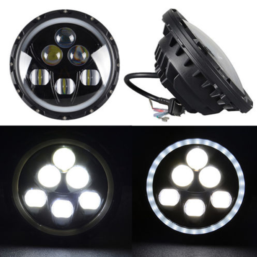 60W Headlamp Used For Jeep Wrangler Car Headlight 7inch High Low Beam LED Work Light With Blue Color Angel Eyes Free Shipping 12v led light auto headlamp h1 h3 h7 9005 9004 9007 h4 h15 car led headlight bulb 30w high single dual beam white light