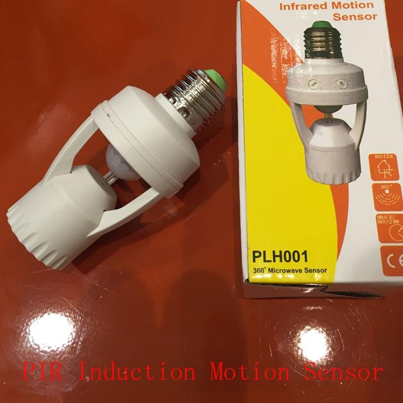 High Quality Infrared PIR Motion Sensor Holder 360 Degree LED E27 Base Lamp Bulb Switch Holder Converter Adaptor 110-240v e27 led pir motion sensor lamp holder ac 180 240v