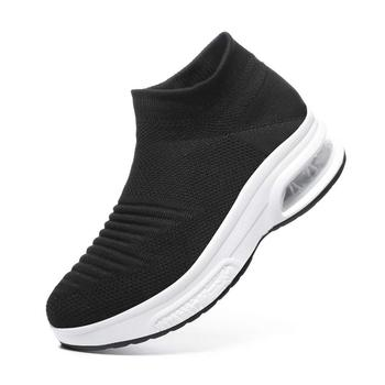2019 Spring Women Platform Sneakers Slip On Mesh Air Cushion Walking Shoes Comfortable Tennis Outdoor Sports Shoes Loafers