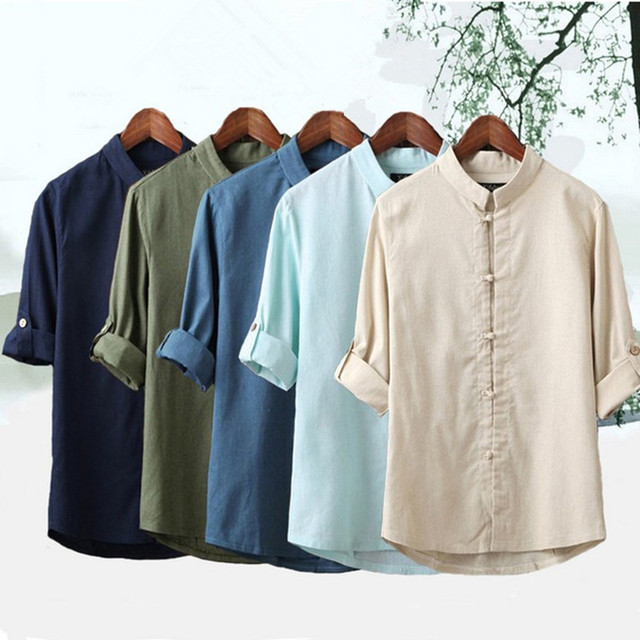 1b21d927a23ef9 Chinese style men cotton linen loose thin blouse tops spring summer vintage  casual half sleeve solid color stand collar t shirt