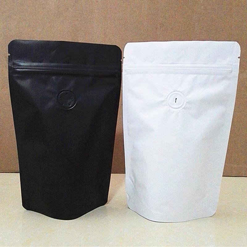 50 шт. матовый черный/белый алюминиевый фольгированный клапан на молнии, сумка для кофе, контейнер для хранения фасоли, односторонний клапан,...