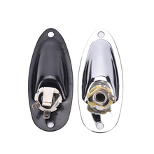 2,76 pulgadas plata barco entrada salida Jack Plate Socket con tornillos para guitarra Fender Strat