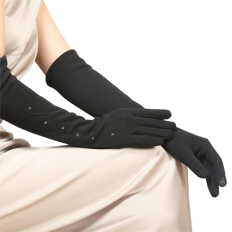 Spun Velvet Woman Gloves Cuff Female Autumn Winter Five Finger Gloves Knitted Thickening Warm Arm Sleeve Warmers BL023N1