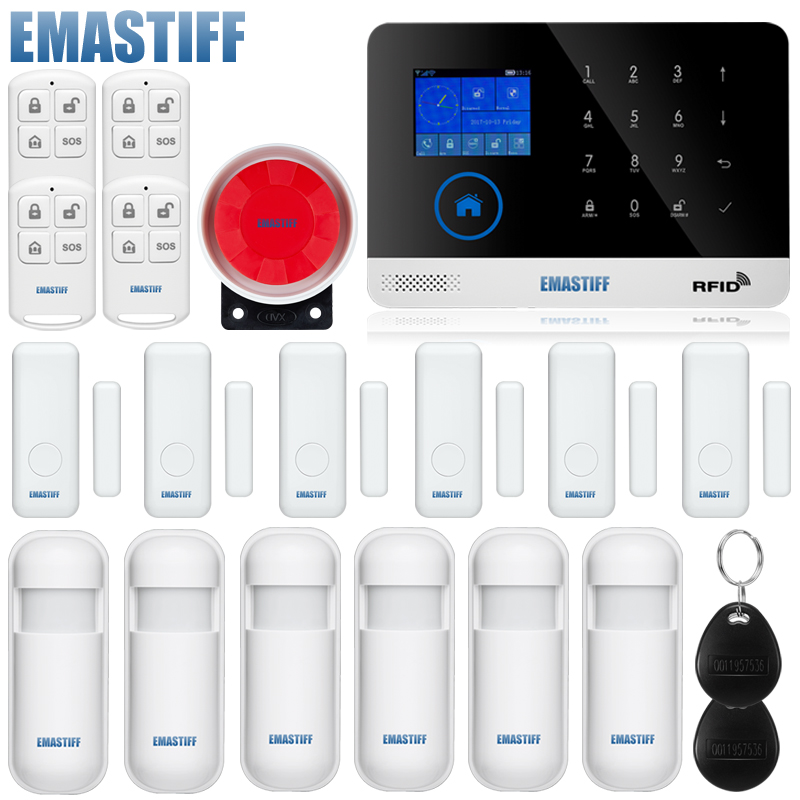 Wireless Home Security GSM WIFI Alarm System IOS Android APP Remote Control RFID Card PIR Sensor Door Sensor kit yobangsecurity touch keypad wireless home wifi gsm alarm system android ios app control outdoor flash siren pir alarm sensor