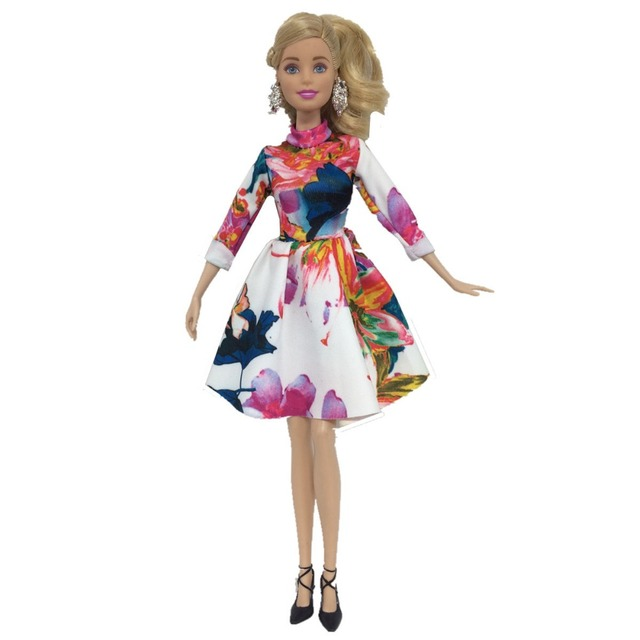 Fashion Floral Dress For Barbie Doll Clothes Accessories Play House