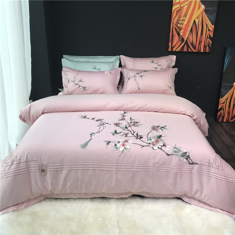 Egyptian Cotton Bedsheet set Quilt/Duvet cover Bed set Pillowcase Oriental Embroidery Luxury Bedding set Queen King size 4PiecesEgyptian Cotton Bedsheet set Quilt/Duvet cover Bed set Pillowcase Oriental Embroidery Luxury Bedding set Queen King size 4Pieces