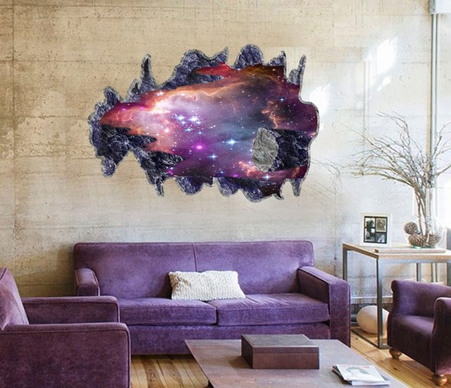 new arrival 3d galaxy wall sticker decals purple outer space