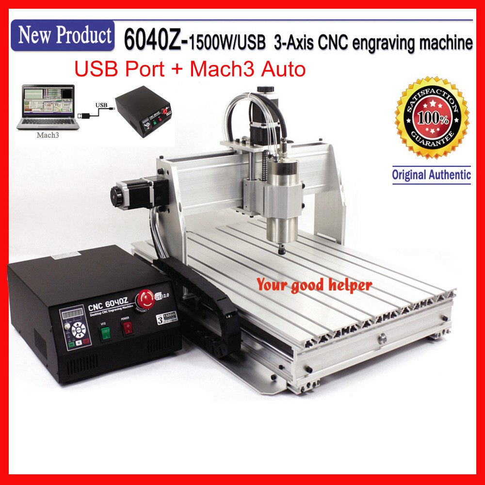 USB Port ,  6040 cnc router ( 1.5KW spindle )  cnc engraver / engraving drilling and milling machine +mach3 + limit switch eur free tax cnc 6040z frame of engraving and milling machine for diy cnc router