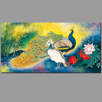 Feather Red Pink Birds Peony Wall Pictures Decoration Peacock Canvas Painting Wall Art Print Living Room