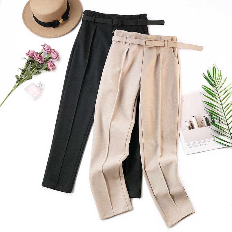 Elegant Sashes Women's Pants 18 Autumn Winter Solid High Waist Pockets Harem Pants Harajuku Fitness Office Lady Trousers Femme 9