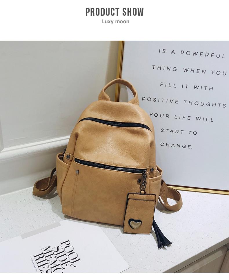 HTB1PS0ocUCF3KVjSZJnq6znHFXai Women Leather Backpack Teenage Girls School Bag Female Vintage Large Solid Soft Backpacks Mochila Black Back Pack Bags New XA86H