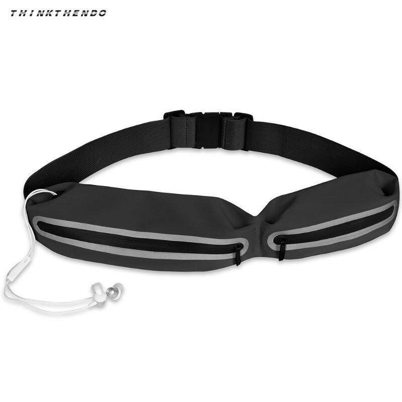 THINKTHENDO Fashion Men Women Unisex Belt Reflective Waist Fanny Pack Phone Holder Waterproof Fitness Outdoor Pouch Bum Bag New