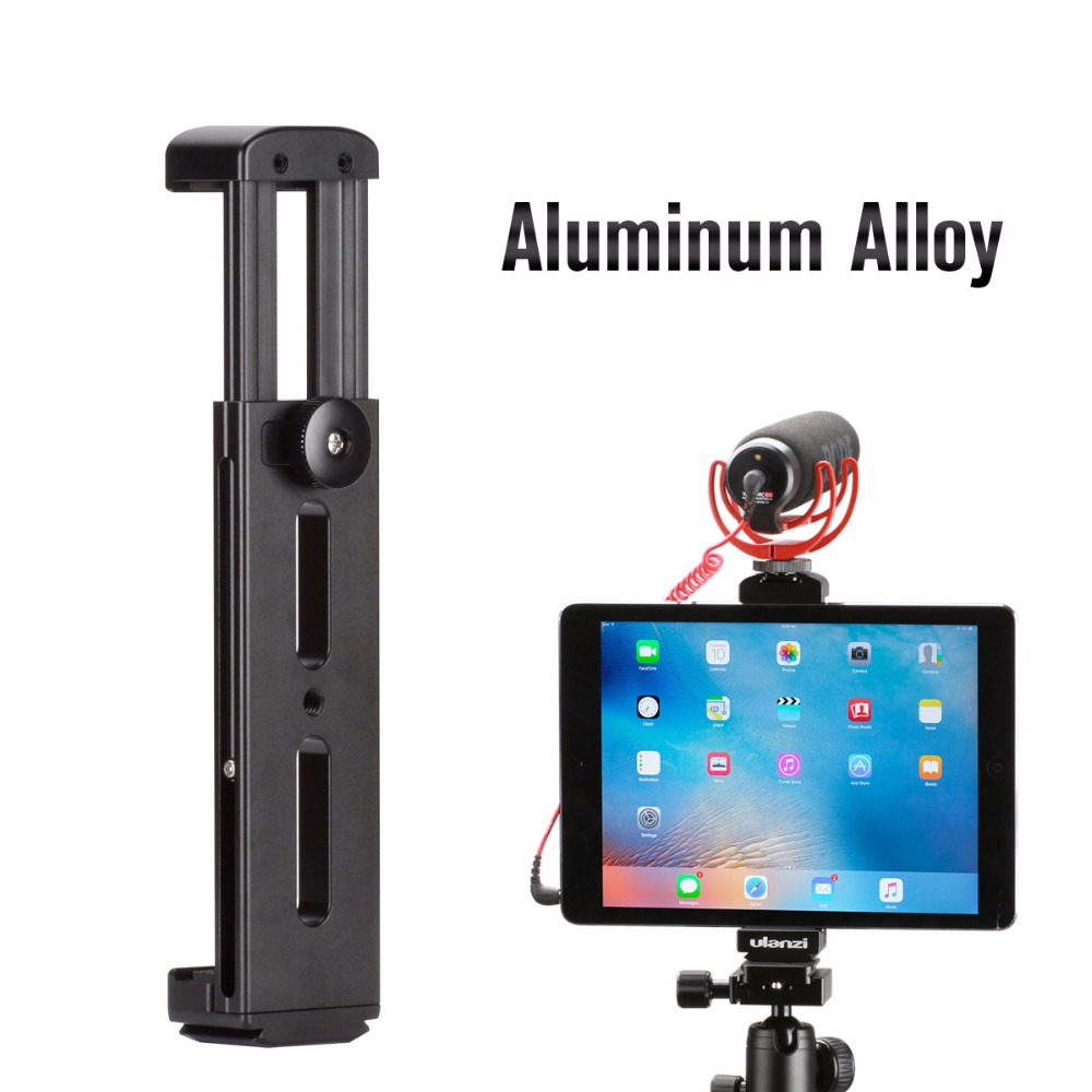 Ulanzi Aluminum Tablet Tripod Mount w Cold Shoe Mount Pad Clip Bracket Holder Stand 1/4 Screw for iPad Pro Mini Most Tablets high quality abs self stick tripod mount stand holder tablet mount holder bracket clip accessories for 7 11 tablet for ipad