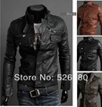 Free shipping 2014 with  pocket zipper men more favors locomotive leather jacket
