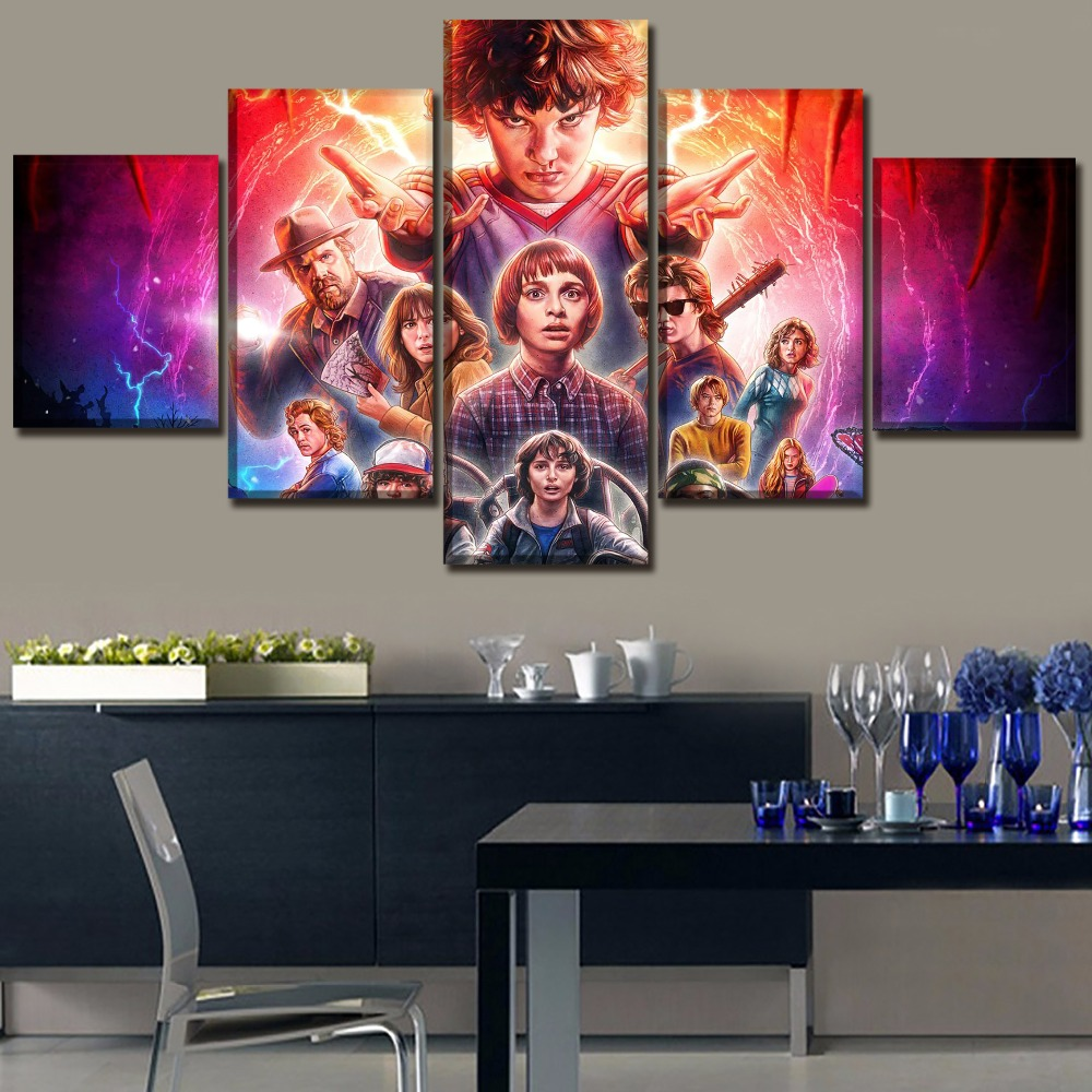 5 pieces canvas painting wall decor pictures for modern living room tv series stranger things. Black Bedroom Furniture Sets. Home Design Ideas