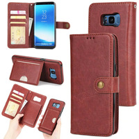 For Galaxy S8 Plus S7 S6 EDGE Case Leather Wallet 2 In 1 Magnetic Built In