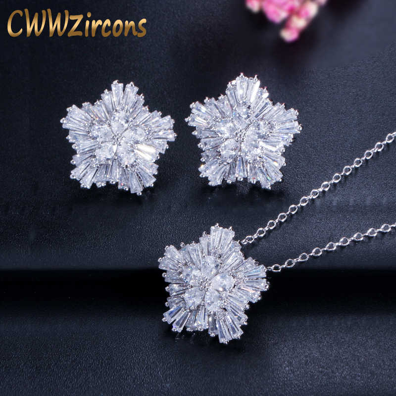 CWWZircons Brand Ladies Fashion Jewelry Sets AAA+ Cubic Zirconia Flower Pendant Necklace Earring Set For Women T208