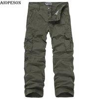 AIOPESON Marke Hohe Qualität Military Herren Hosen 100% Baumwolle Solide Safari Lange Länge Cargo Pants Men Casual Taschen 29-38