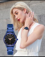 Blue pink gold famous watch, ladies watch with stainless steel designer , luxury starry sky watch woman