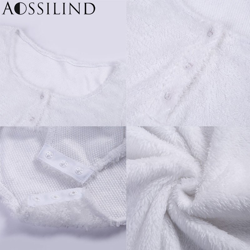 AOSSILIND White Skinny Women Playsuit Sexy V Neck Long Sleeve Buttons Rompers Women Autumn Winter Bodysuit in Rompers from Women 39 s Clothing
