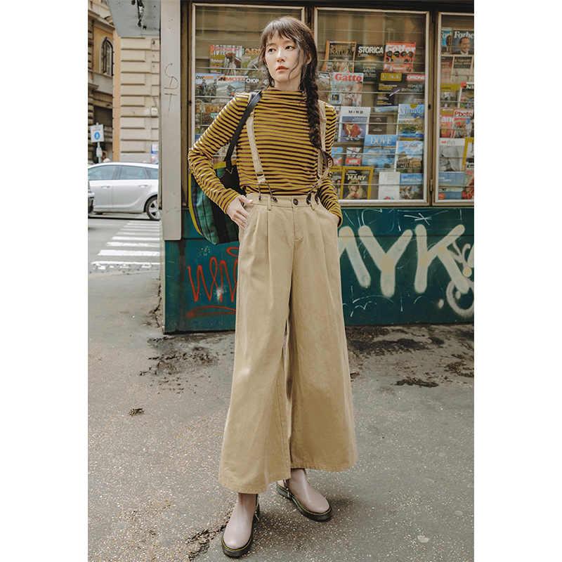 INMAN wiosna jesień z szerokimi nogawkami pasuje do wszystkiego przyczynowe proste damskie kombinezony
