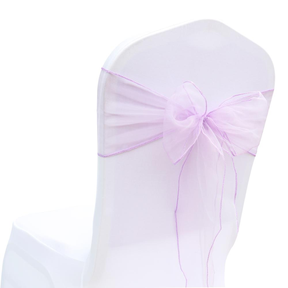 100pcs Organza Chair Sashes Bows Wedding Party Christmas Event Banquet Decor DIY Sheer Organza Fabric 7