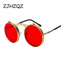 6f157fcdd ZJHZQZ Flip Up Steampunk Sunglasses Men Round Vintage Spring Legs Brand  Designer Outdoor Sports Sun Glasses